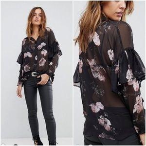 ASOS Religion Sheer Shirt In Floral